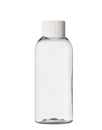 2 oz Clear PET boston round bottle with 20-410 neck finish with White PP ribbed skirt lid with foam liner- Case of 260