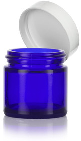 (Case of 168) 2 oz Cobalt BLUE GLASS Jar Straight Sided w/ White Plastic Lined Caps
