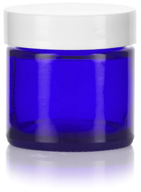 2 oz Cobalt BLUE GLASS Jar Straight Sided w/ White Plastic Lined Caps
