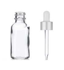 1 Oz Clear Glass Bottle w/ Matte silver and White Dropper