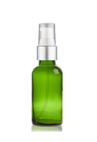 1 Oz Green Glass Bottle w/ Matte silver and White Treatment Pump