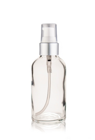 2 Oz Clear Glass Bottle w/ Matte silver and White Treatment Pump