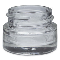 1/4 oz clear glass thick wall jar with 33-400 neck finish with Black Phenolic Cap