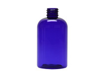 4 oz Blue Plastic Boston Round PET Squat Bottle - 20-410 with neck finish - Case pack 495