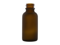 1 OZ. Frosted Amber Glass Bottle, 20/400 Finish