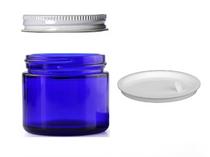 2 oz Cobalt BLUE GLASS Jar Straight Sided w/ White Metal Screw Lids - pack of 12