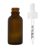 1 oz FROSTED AMBER Glass Bottle w/ White Child Resistant Calibrated Glass Dropper- Pack of 120