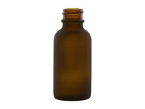 1 oz FROSTED AMBER Glass Bottle w/ White Regular Glass Dropper