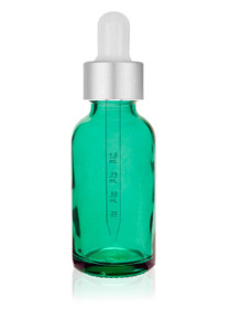 1 Oz Caribbean Green Glass Bottle w/ Matte silver and White Calibrated Glass Dropper