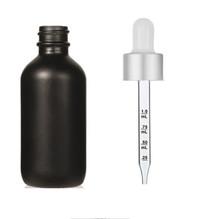 1 Oz Matt Black Glass Bottle w/ Matte silver and White Calibrated Glass Dropper