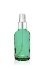1 Oz Caribbean Green Glass Bottle w/ Matte silver and White Fine Mist Sprayer