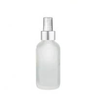 2 Oz Frosted Glass Bottle w/ Matte silver and White Fine Mist Sprayer