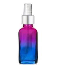 1 Oz Multi Fade Glass Bottle w/ Matte silver and White Fine Mist Sprayer