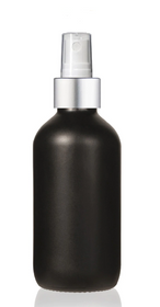1 Oz Matt Black Glass Bottle w/ Matte silver and White Fine Mist Sprayer