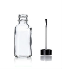 1 oz Clear Glass Bottle - w/ Black Brush Cap
