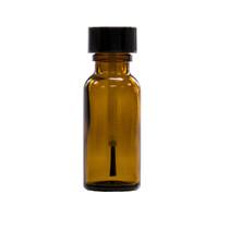 1/2 oz (15ml) Amber Glass Bottle - w/ Black Brush Cap