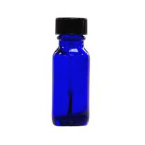 1/2 oz (15ml) Cobalt Blue Glass Bottle  - w/ Black Brush Cap