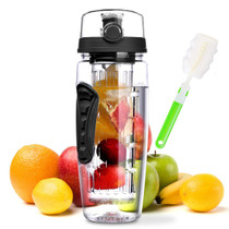 Fruit Infuser Water Bottle 32 oz: Flavored Water & Tea Infusion for Hydration -Black