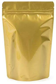 """100 Pack, 4 oz, 5""""x8"""" Airtight Zipper Stand up Pouch, Barrier Bag - Heat Seal-able Zip Lock (Matt Gold)"""