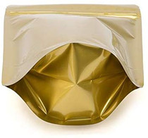 "100 Pack, 4 oz, 5""x8"" Airtight Zipper Stand up Pouch, Barrier Bag - Heat Seal-able Zip Lock (Matt Gold)"
