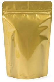 """100 pack- 2 oz, 4""""x6"""" Airtight Zipper Stand up Pouch, Barrier Bag - Heat Seal-able Zip Lock (Matte Gold)"""