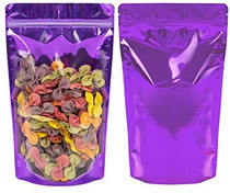 "100 Pack, 2 oz, 4""x 6"" Airtight Zipper Stand up Pouch, Barrier Bag - Heat Seal-able Zip Lock (Matt Purple/Clear)"