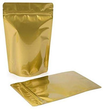 "100 Pack, 1 oz, 3 1/8""x 5 1/8"" Airtight Zipper Stand up Pouch, Barrier Bag - Heat Seal-able Zip Lock (Matt Gold)"