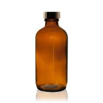 8 oz Boston Round Glass Bottle Amber - w/Poly Seal Cone Cap