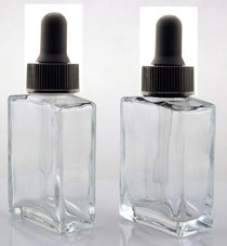 1 oz CLEAR SQUARE Glass Bottle w/ Black Regular Dropper- Pack of 72