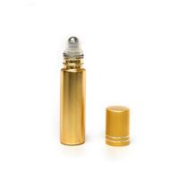 10 ml (1/3oz) Metallic Gold Roll On Bottles W/Metallic Gold Caps