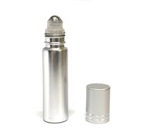 10 ml (1/3oz) Metallic Silver Roll On Bottles W/ Metallic Silver Caps