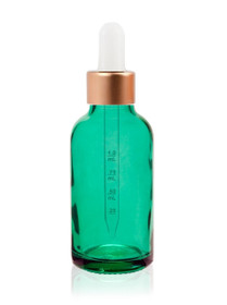 1 Oz Caribbean Green Glass Bottle w/ White Rose Gold Calibrated Glass Dropper