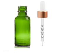 1 Oz Green Glass Bottle w/ White Rose Gold Calibrated Glass Dropper