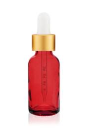 1 Oz Red Glass Bottle w/ White-Matt Gold Dropper