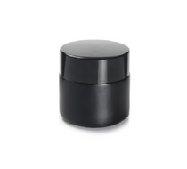 2 oz Black Glass Cream Jar with White Insert and Black Lid - pack of 24