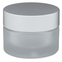1 oz Glass Frosted Cream Jar with White Insert and Matte Silver Lid - pack of 24