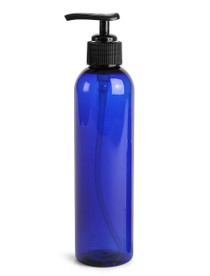 8 oz Blue PET Cosmo Plastic Bottle w/ Black Lotion Pump