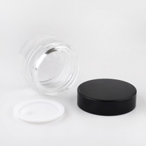 1 oz Glass Clear Cream Jar with White Insert and Black Lid - pack of 24