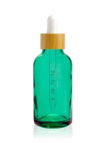 1 oz Caribbean Green Glass Bottle w/ White-Bamboo Dropper