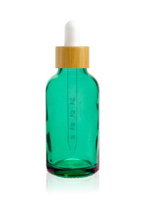 1 oz Caribbean Green Glass Bottle w/ White-Bamboo Dropper