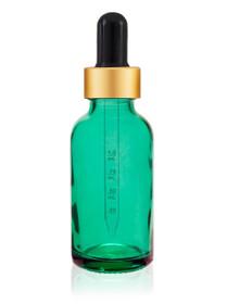 1 oz Carrabean Green Glass Bottle w/ Black - Gold Calibrated Glass Dropper