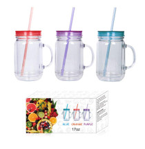 Plastic Mason Jars with Handles, Lids and Straws, 20 oz Double Insulated Tumbler with Straw | Set of 3 | Wide Mouth Mason Jar Mugs
