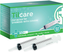 60ml Catheter Tip Syringe with Covers 50 Pack