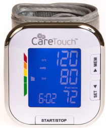 "Care Touch Fully Automatic Wrist Blood Pressure Cuff Monitor - Platinum Series, 5.5"" - 8.5"" Cuff Size- Batteries Included"