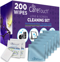 Care Touch Lens Cleaning Wipes with Microfiber Cloths - Excellent Glasses, Laptop, Computer Screen, and Lens Cleaner - 200 Wipes and 6 Cloths