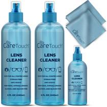 Care Touch Alcohol Free Glasses Lens Cleaner Kit | 2 8oz Spray Bottles + 2oz Travel Spray Bottle +2 Cloths | Safe for All Coated Lenses, Eyeglasses and Screens