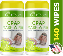 Care Touch CPAP Cleaning Mask Wipes - Citrus Scent, Lint Free - 70 Wipes, Pack of 2 - 140 Wipes Total