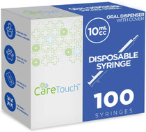 10ml Oral Syringe  100 Syringes with Covers by Care Touch - Great for Oral Medicine and Home Care