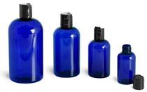 8 oz Blue Plastic PET Boston Round Bottle w/ Black Disc Cap