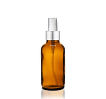 1 oz Amber Bottle w/ White - Silver Fine Mist Sprayer